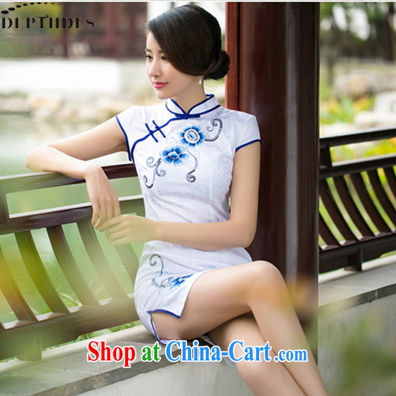2015 DEPTHDES new female cheongsam dress summer improved stylish boutique embroidered beauty everyday dresses dresses short, low on the truck, white XXL