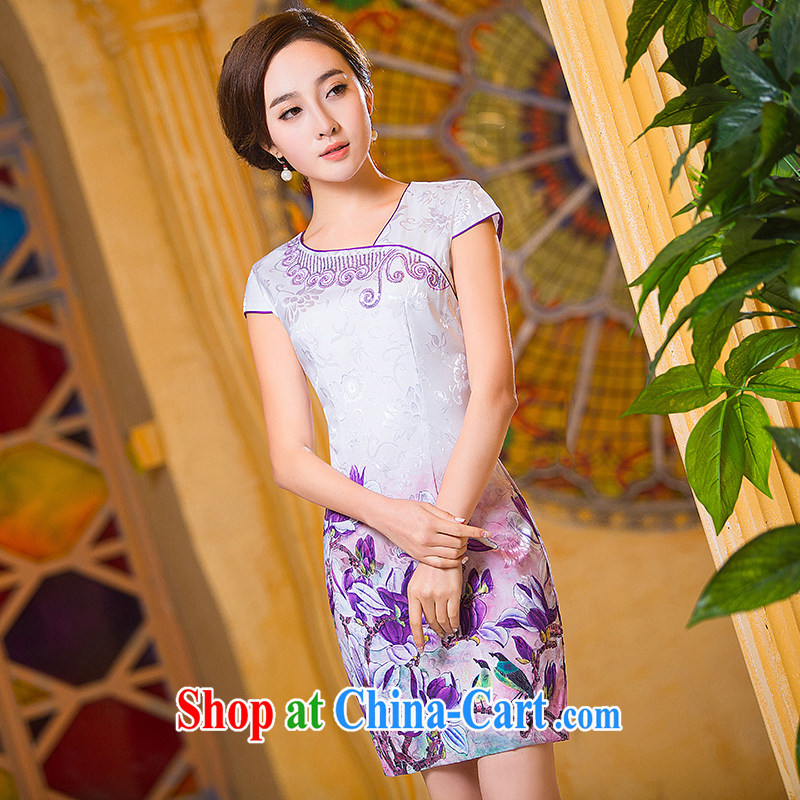Love spell Fort Lauderdale new dresses 2015 summer short, Retro improved embroidery beauty everyday, Mom loaded cheongsam dress suit XXL