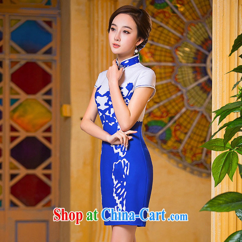 She dresses in Fort Lauderdale 2015 new summer, blue elegant Daily Beauty improved blue and white porcelain mother load cheongsam dress blue XXL