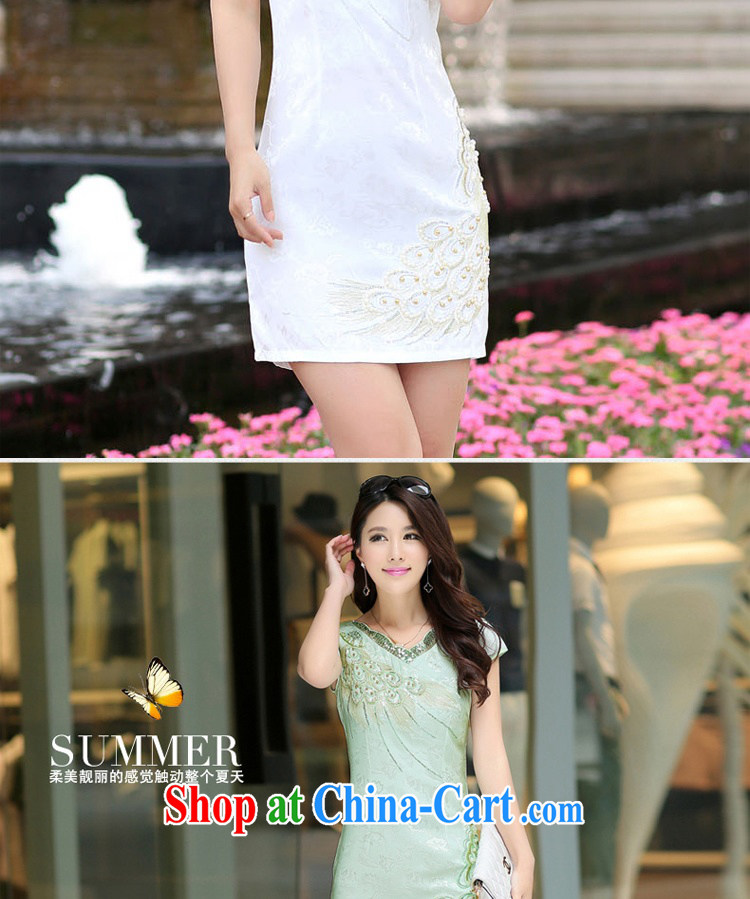 Jin Bai Lai Tang with improved cheongsam 2015 summer dress fashion style retro beauty short-sleeved larger dresses dress pink L pictures, price, brand platters! Elections are good character, the national distribution, so why buy now enjoy more preferential! Health
