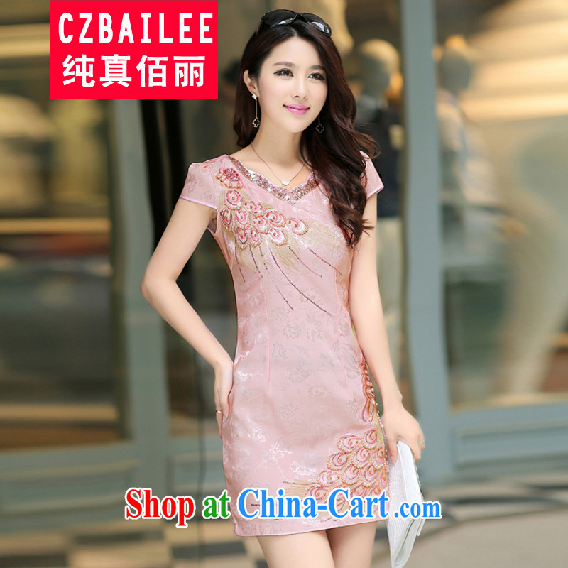 Jin Bai Lai Tang with improved cheongsam 2015 summer dress fashion style retro beauty short-sleeved larger dresses dress pink L