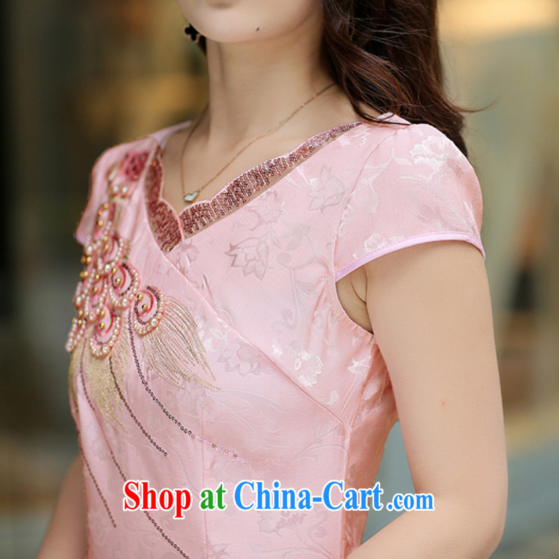 Jin Bai Lai Tang with improved cheongsam 2015 summer dress fashion style retro beauty short-sleeved larger dresses dress pink L, pure Bai Lai (C . Z . BAILEE), online shopping