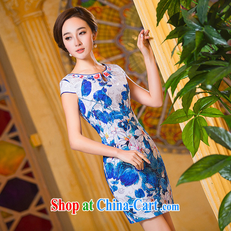 Love spell Fort Lauderdale 2015 new dresses summer mom with retro improved embroidery floral daily cotton Ma dresses cheongsam dress suit XXL