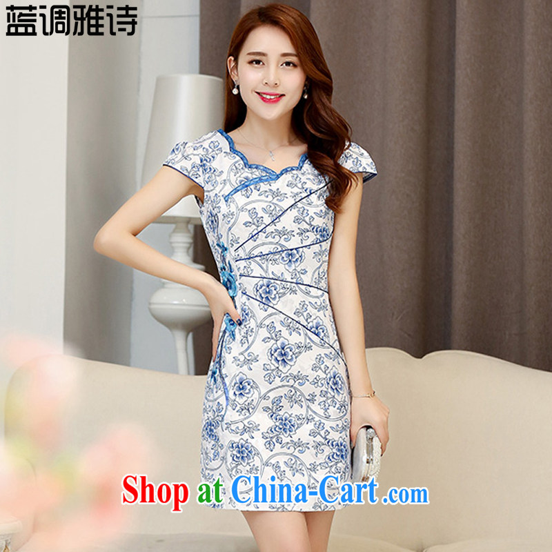 Blues, qipao dresses 2015 spring and summer new stamp duty cultivating China wind short-sleeved dresses cheongsam white XXL