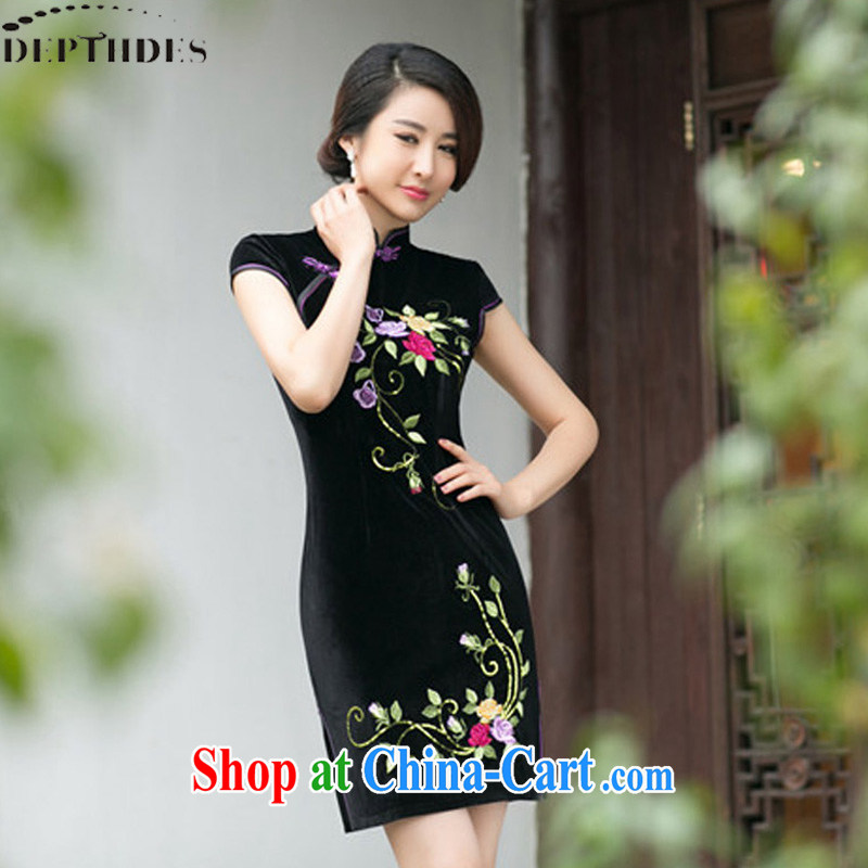 2015 DEPTHDES new female cheongsam dress autumn and the modern day retro embroidered beauty and elegant velvet cheongsam dress dresses short female black XXL