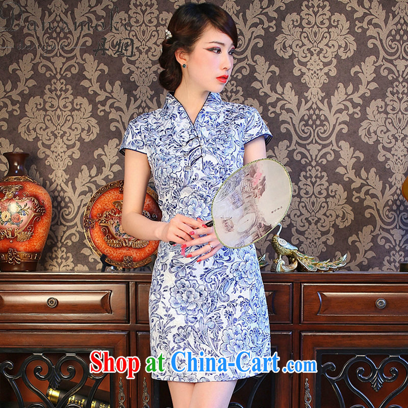 Dan smoke summer new cheongsam dress Chinese Chinese improved small V for porcelain was cultivating cotton short cheongsam shown in Figure 3XL