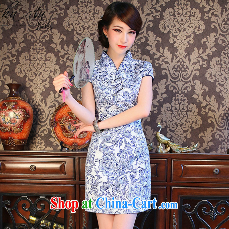 spend the summer new cheongsam dress Chinese Chinese improved small V for porcelain was cultivating cotton short cheongsam shown in Figure 3XL