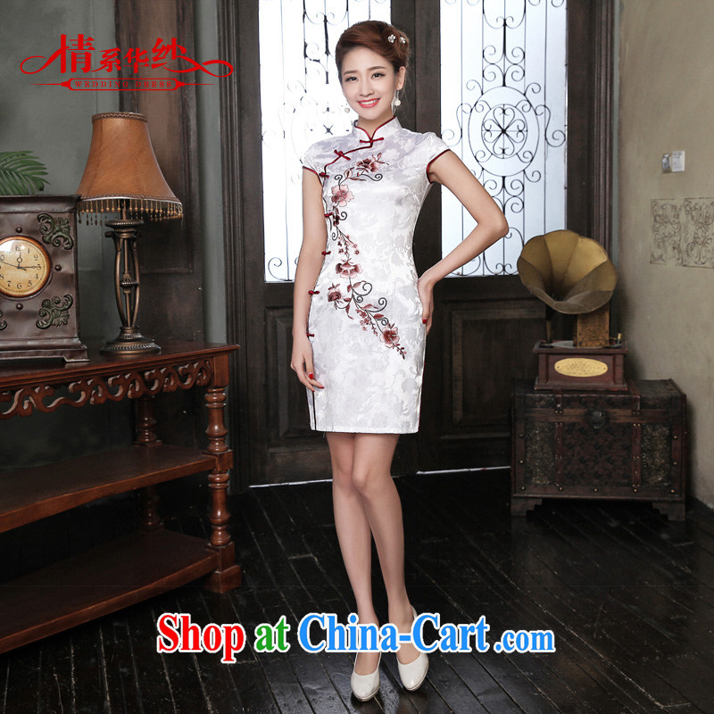 The china yarn 2015 new dresses spring-toast clothing retro embroidery low-power's beauty dresses embroidery cheongsam white XL