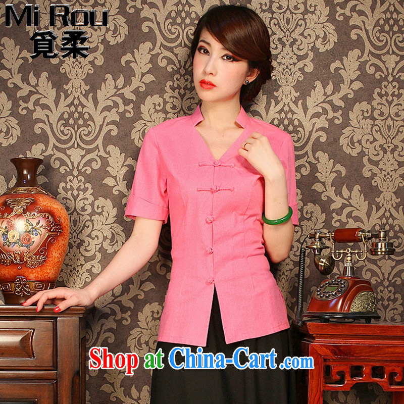 Find Sophie improved cheongsam shirt ladies summer V collar cotton the solid-colored, short-sleeved retro-buckle classic Tang is shown in Figure 3XL
