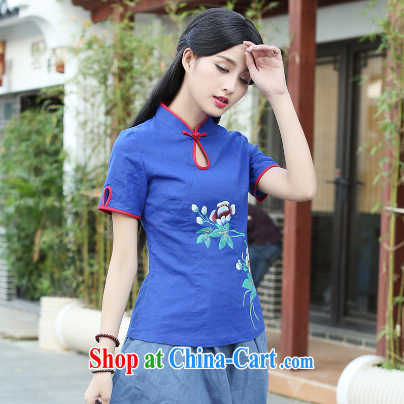 China classic original Chinese hand-painted cotton the Chinese Han-improved, improved cheongsam shirt short-sleeved summer blue XXL