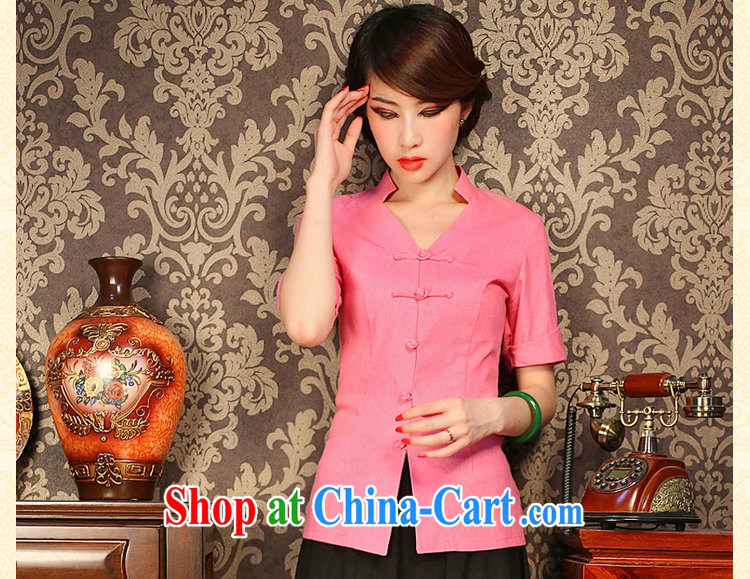 Dan smoke improved cheongsam shirt summer V collar cotton the solid color, short-sleeved retro-buckle classic Chinese figure color XL pictures, price, brand platters! Elections are good character, the national distribution, so why buy now enjoy more preferential! Health
