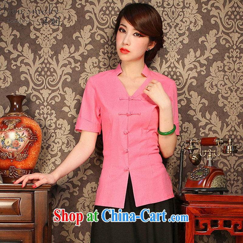 Dan smoke improved cheongsam shirt summer V collar cotton the solid-colored, short-sleeved retro-buckle classic Chinese figure color XL