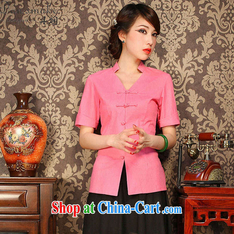 Dan smoke improved cheongsam shirt summer V basket for the solid-colored, short-sleeved retro-buckle classic Chinese figure color XL, Bin Laden smoke, shopping on the Internet