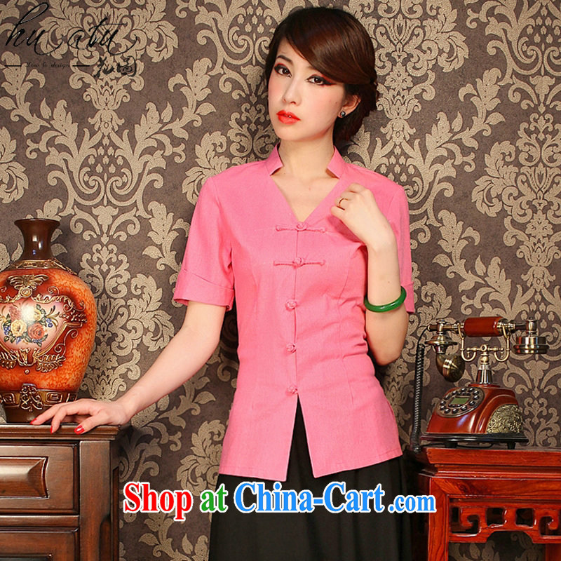 Take the improved cheongsam shirt summer V collar cotton the solid-colored, short-sleeved retro-buckle classic Tang is shown in Figure 3XL