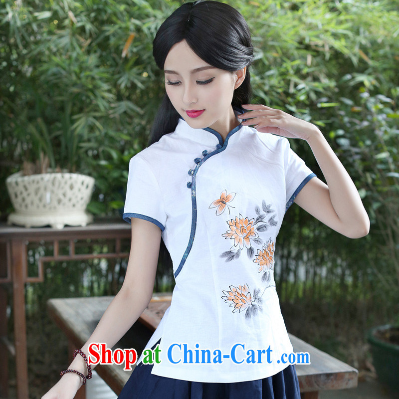 China classic original cotton the Chinese Tang with Han-improved cheongsam shirt, ladies summer tea clothing white XXL