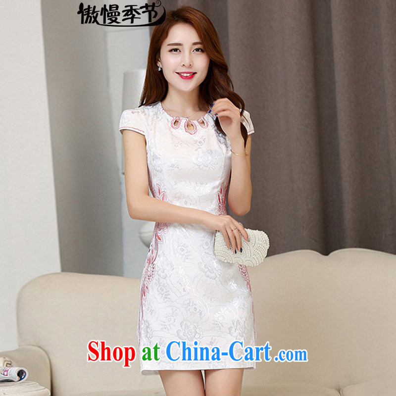 Arrogant season 2015 new dresses spring and summer short, short-sleeved retro dresses improved cultivating everyday dress stylish dresses White Red XXL