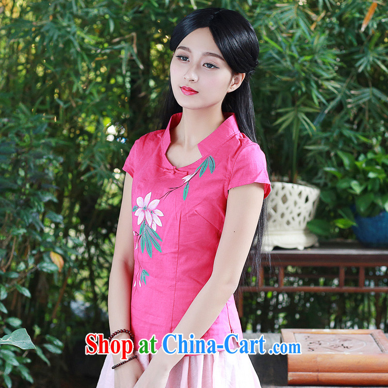 China classic original hand-painted cotton the Chinese Han-Chinese Han-summer Ms. load improved short-sleeve double-shoulder T-shirt red S