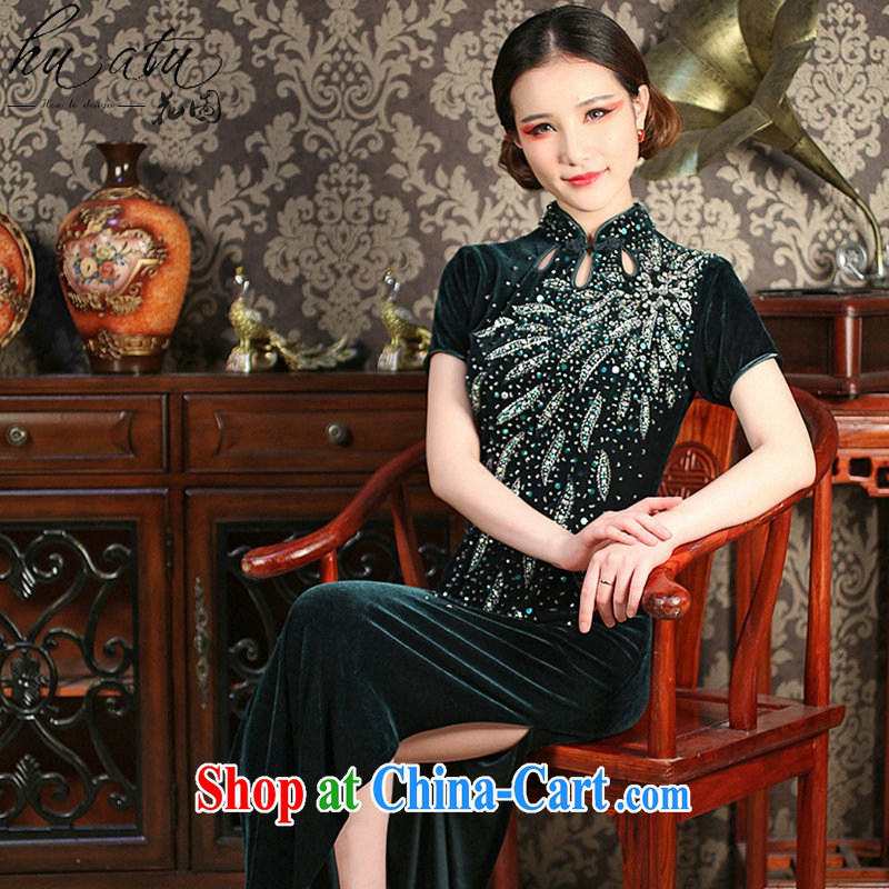 Take the longer Old Shanghai Korea improved long cheongsam dress Chinese manual pearl-embroidered velvet dinner long robes dark green 2 XL