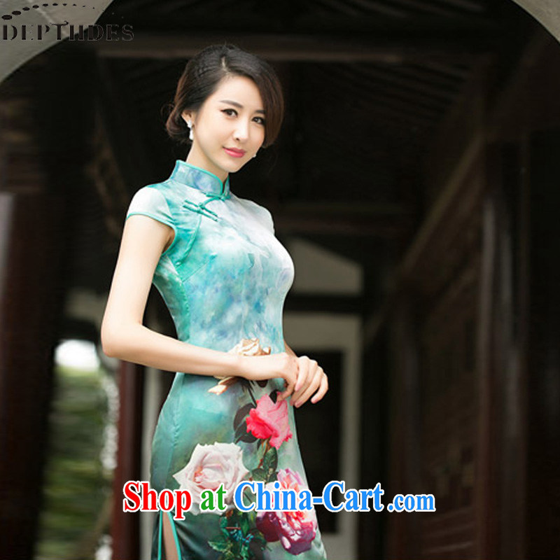 DEPTHDES summer 2015 with new, modern-day undercover take National wind women Beauty Silk Cheongsam improved retro short video thin cheongsam picture color XXL
