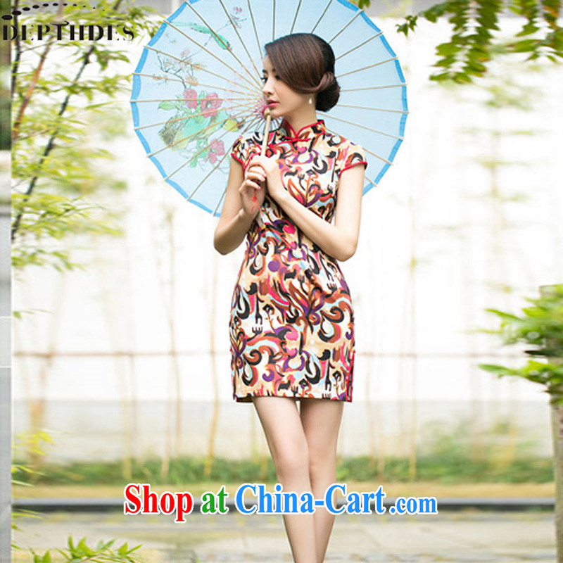 2015 summer new stylish Ethnic Wind jacquard cotton retro improved short video thin cheongsam dress dresses girls picture color XXL