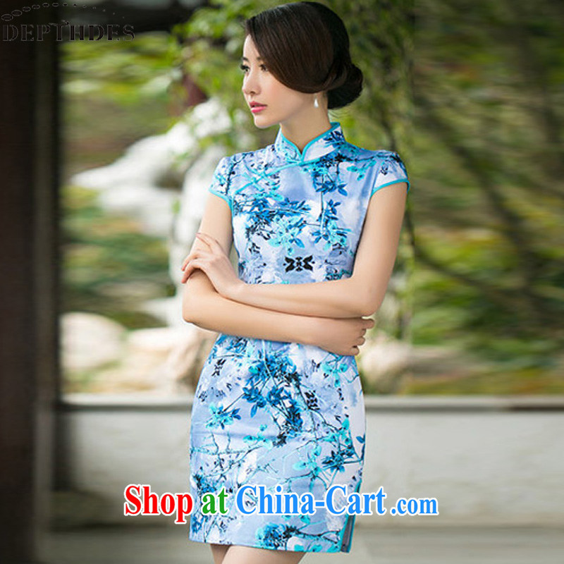 2015 summer new stylish Ethnic Wind Maple Leaf jacquard cotton retro improved short video thin cheongsam dress dresses girls light blue XXL