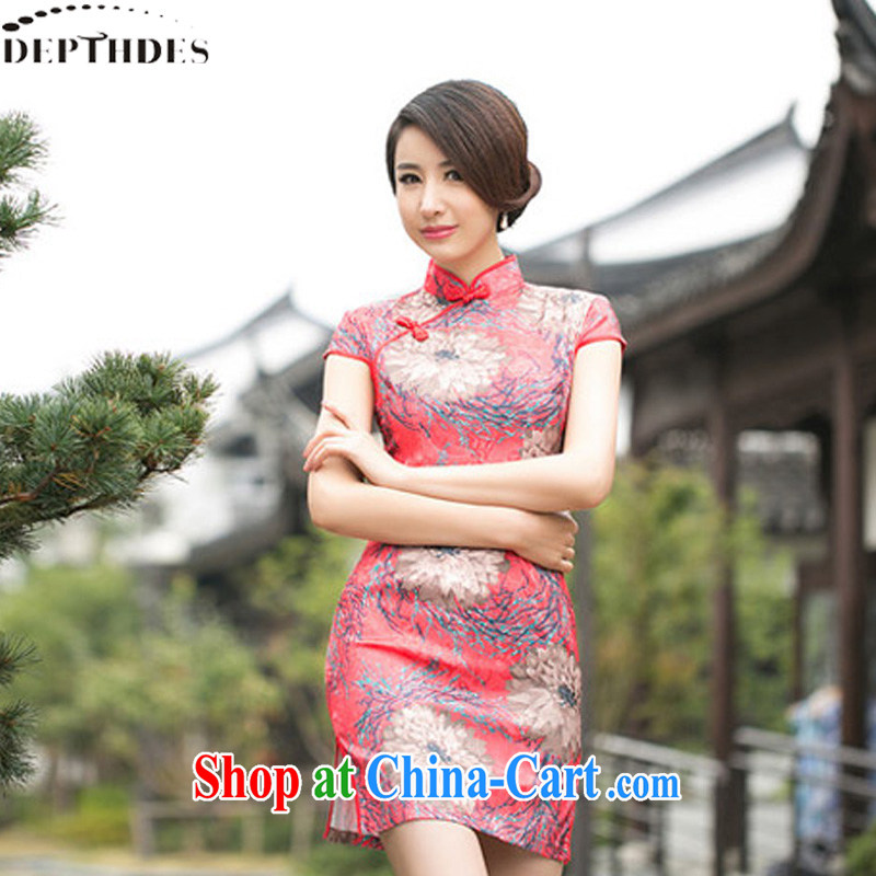 2015 summer new stylish daily peony flowers Ethnic Wind jacquard cotton retro improved short video thin cheongsam dress dresses girls picture color XXL