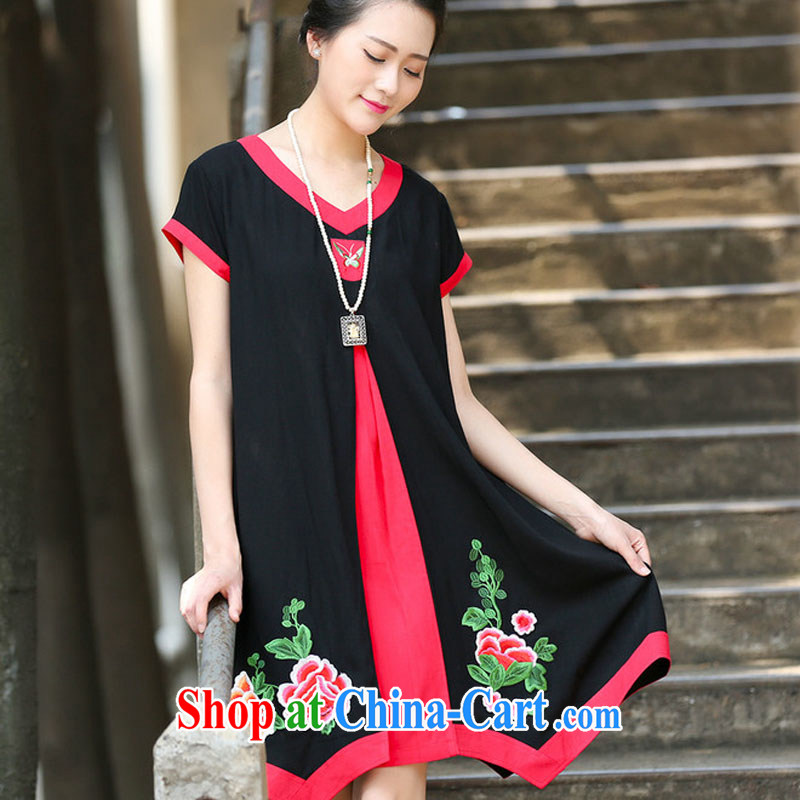 2015 new summer stitching embroidered jacquard ethnic wind dresses cotton the girl with the long, 1132 C black XXL