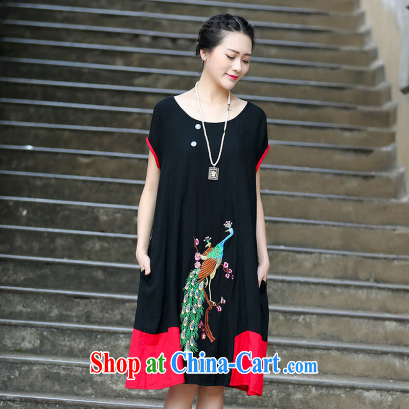 2015 new summer stitching embroidered jacquard ethnic wind dresses cotton the girl with the long, 1131 C black XXXL