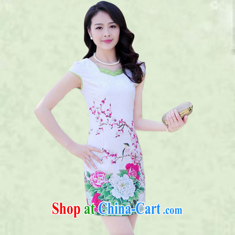 100 million Dollar City Women summer 2015 new daily improved short cheongsam style lady beauty and elegant graphics thin package and retro dresses 6968 red Peony XXXL