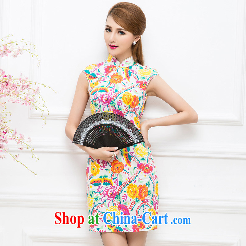 The Tang dynasty improved stylish stamp duty cultivating a sleeveless cheongsam dress TXF 40,668 black on white the colorful flower XXL