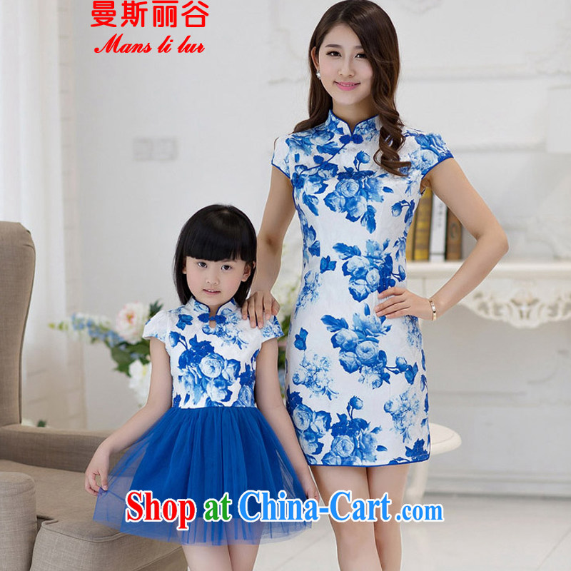 The beautiful valley summer 2015 new short-sleeved the forklift truck blue and white porcelain antique cheongsam dress parent-child with mother and daughter summer blue S