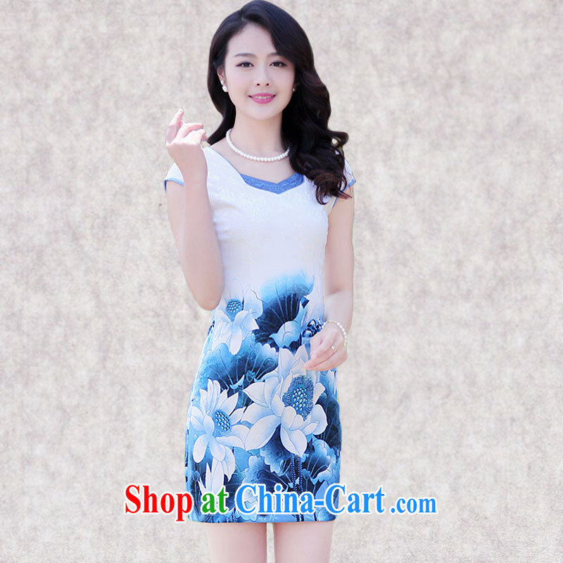 Constitution, a girl with the Code 2015 summer New and Improved short cheongsam style lady beauty and elegant graphics thin floral retro dresses 6968燽lue flouncing XXXL