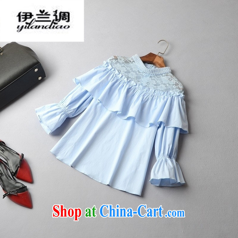 9 month female * 2015 spring and summer new European and American female spell lace collar pin Pearl cuff Princess bat T pension 41,409 blue L