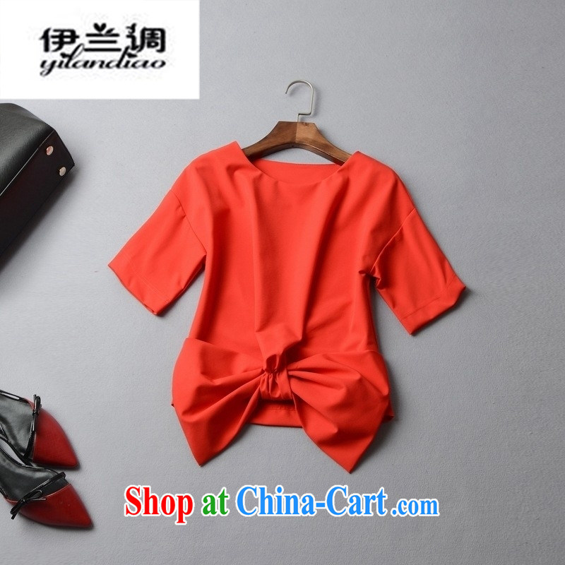 9 month female _ 2015 spring and summer new European female round-collar short-sleeve, with the bow-tie solid color T pension 42,507 red L