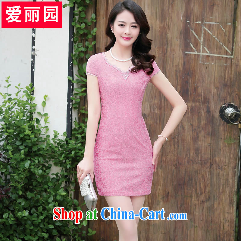 Alice Park summer 2015 Women's clothes New Style short-sleeved dresses package skirt stylish beauty graphics thin lace cheongsam dress short skirt peach XXL
