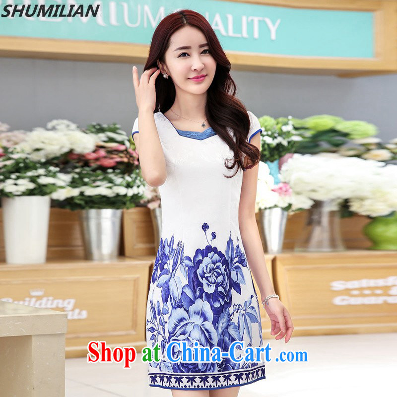 Mrs M land 2015 summer New Style stamp cheongsam beauty graphics thin back zipper white blue flower XXL