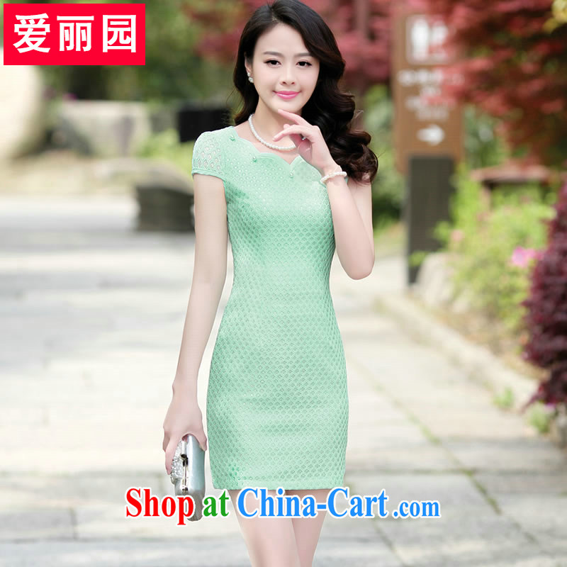 Alice Park 2015 summer new, larger female head of Korea lace dresses package and cultivating a skirt, long dresses, Green Green XXXL