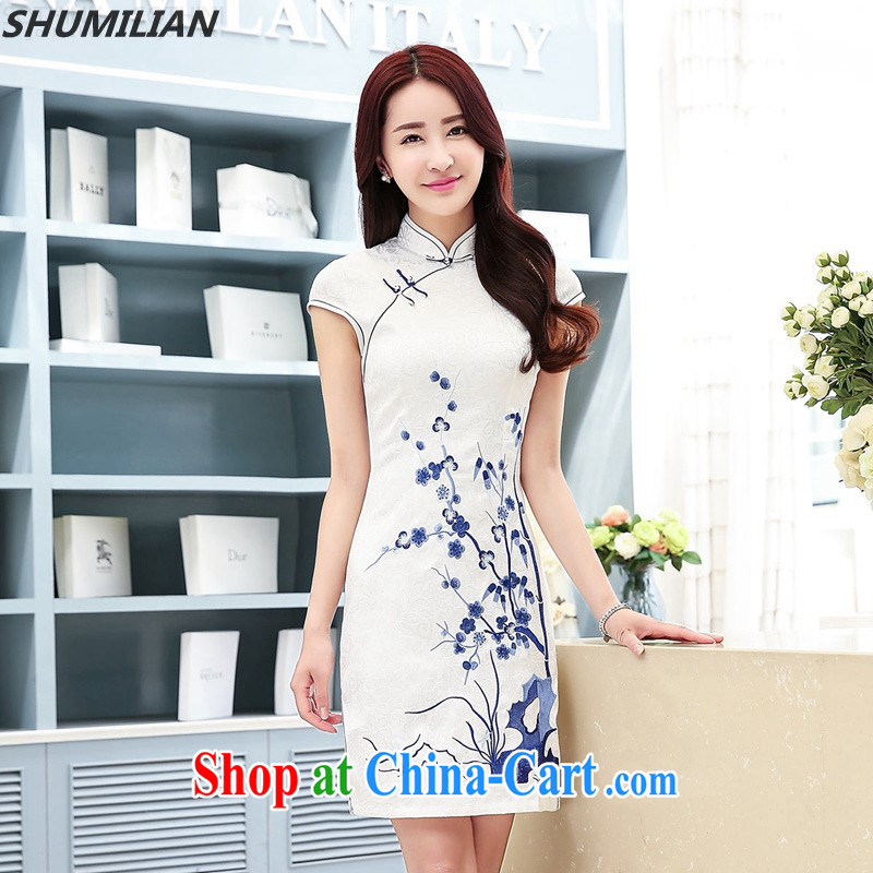 Mrs M land 2015 summer new, Retro, tie coin stamp cheongsam video aura white L