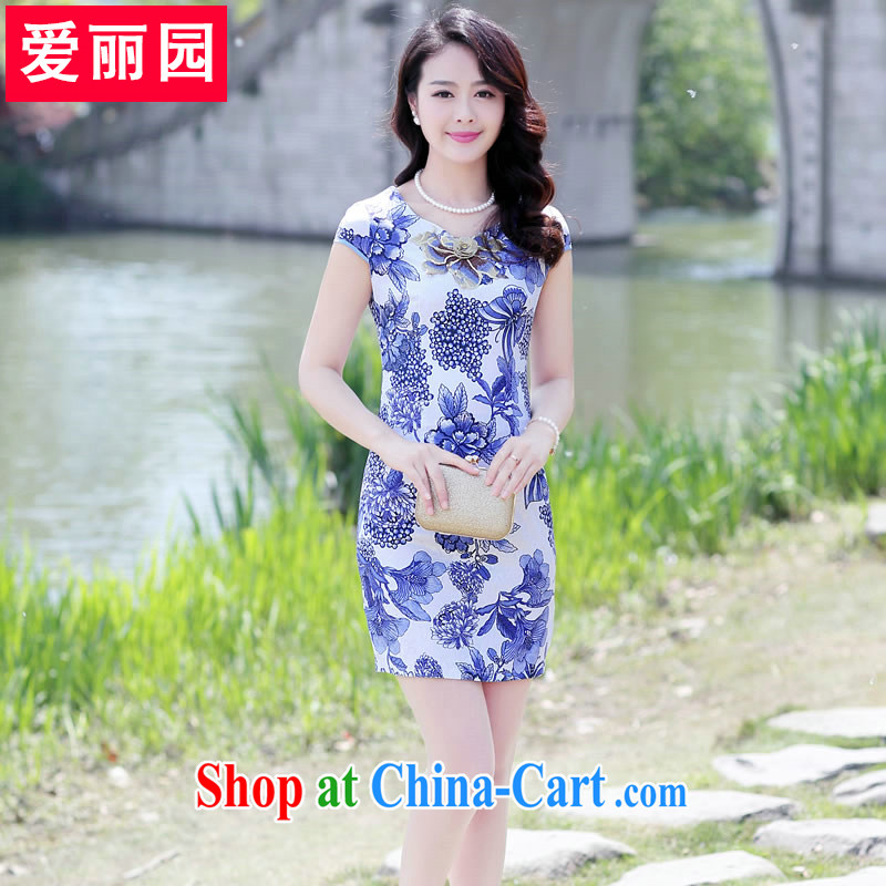 Alice Park 2015 summer new female blue and white porcelain dress fashion style stamp beauty floral embroidery cheongsam white orchids XXL