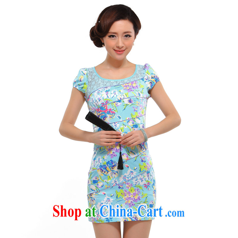 once and for all silence the cheongsam summer 2015 stylish new improved sexy beauty graphics thin retro floral cheongsam dress light blue 2 XL