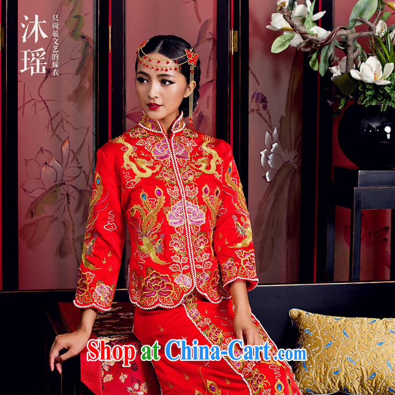 Mu Yao Chinese bows serving long-sleeved Phoenix embroidery of the well-being 5 2015 new bride costumes show kimono small 5, 650 special, head-dress 0910 Purple Heart small 5 well S new Phoenix use