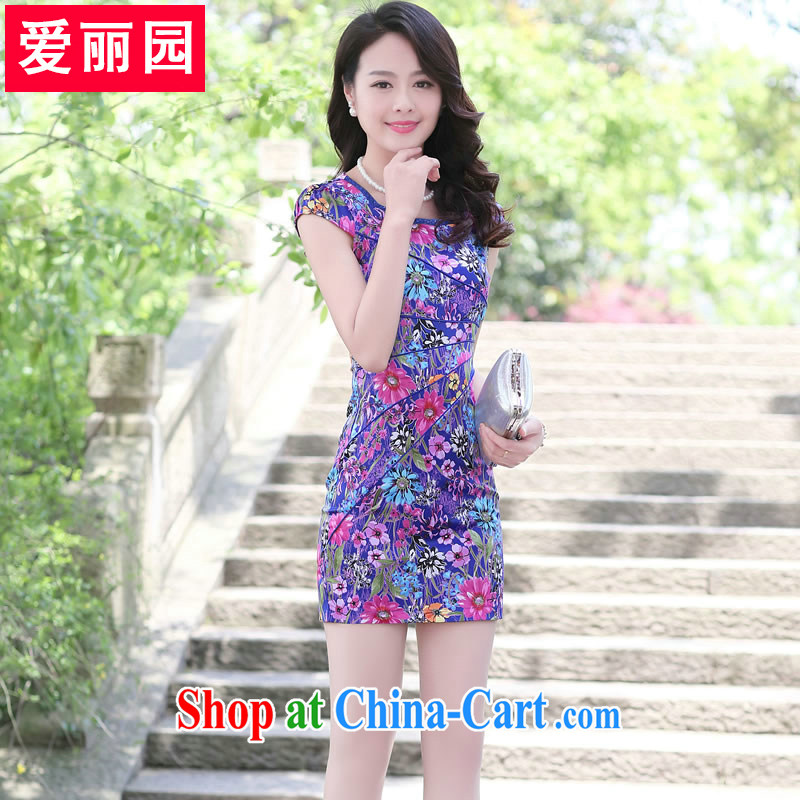 Alice Park 2015 summer new dress cheongsam dress short-sleeved beauty package and embroidery solid OL commuter package and a further solid blue sun flower XXL