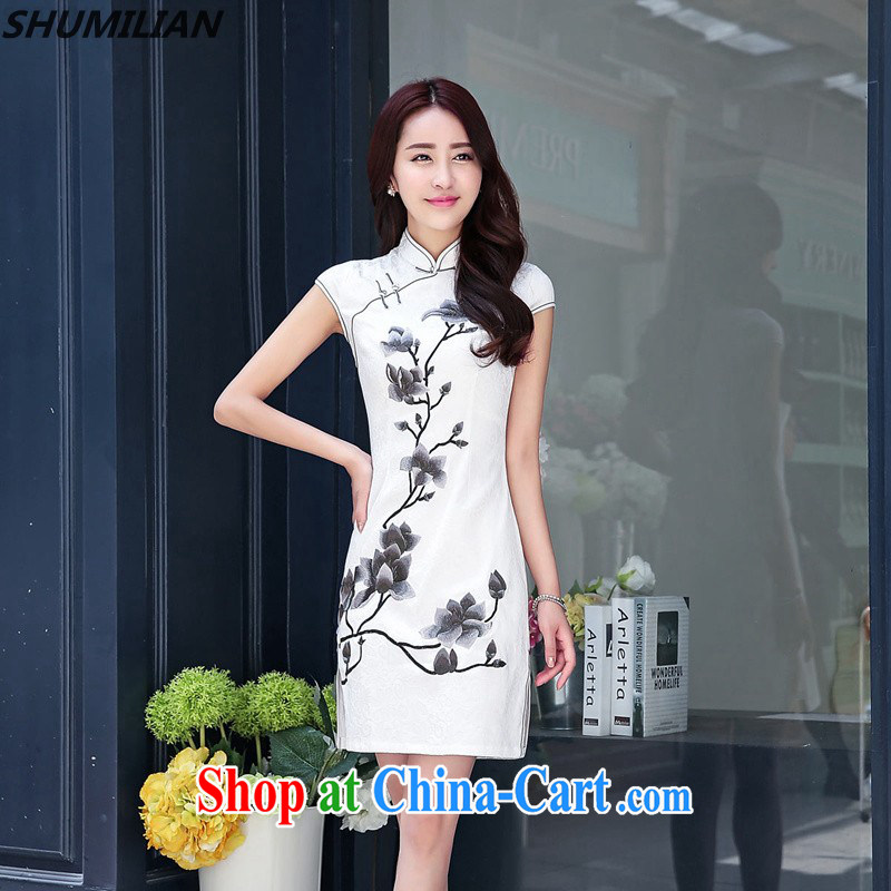 Mrs M, summer 2015 the new personality profile about the collar jacquard embroidery cheongsam beauty white XXL