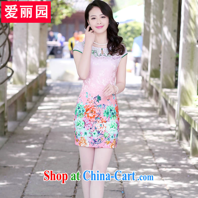 Alice Park 2015 summer new ladies short-sleeved round neck stamp short skirts and stylish beauty package and embroidered graphics thin dresses cheongsam dress toner the Peony XXL