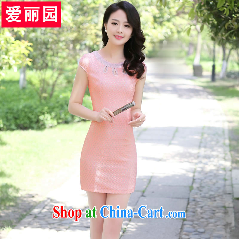 Alice Park 2015 summer new dress trendy, improved retro short cheongsam dress Chinese daily pixel color solid color peach M