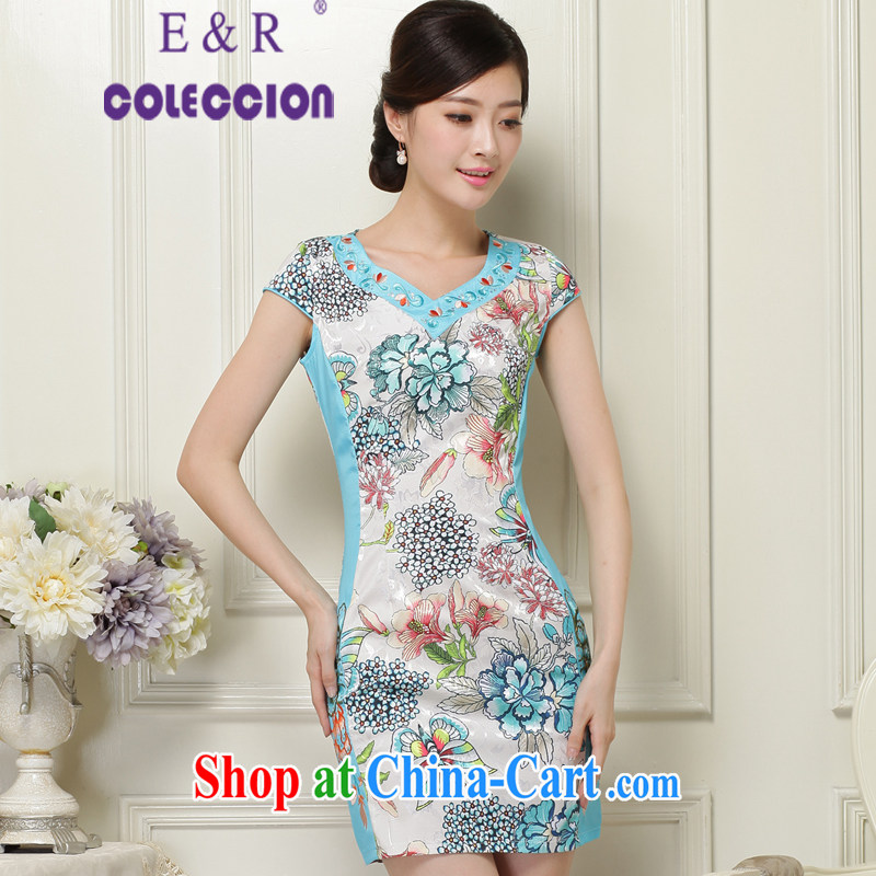 2015 new dresses retro embroidery flower short cheongsam beauty daily short cheongsam green XXL