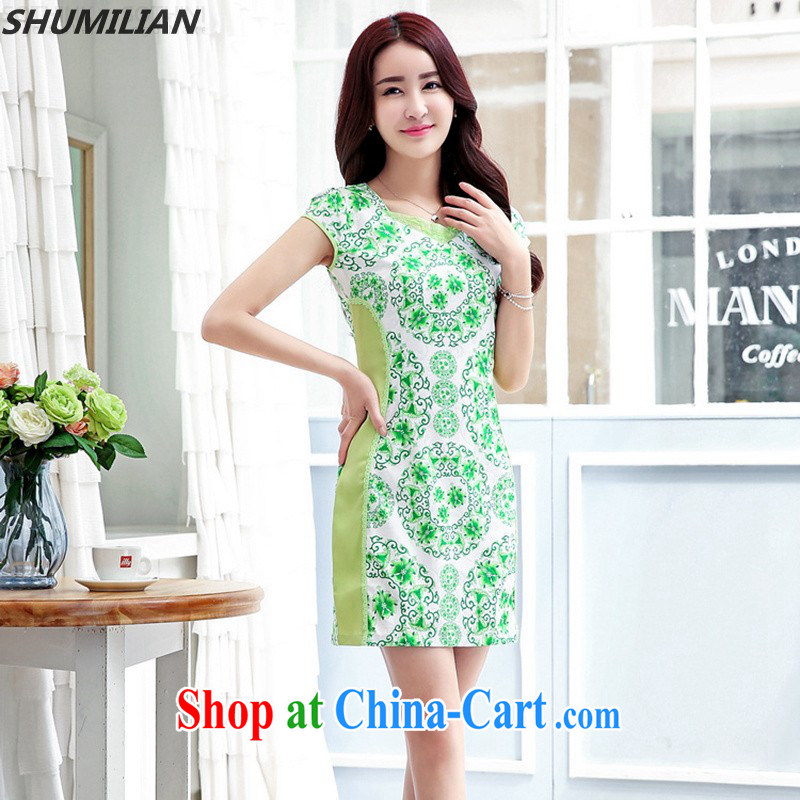Mrs M land 2015 summer new personality minimalist round-collar waist knocked color stamp elegance dresses green XL