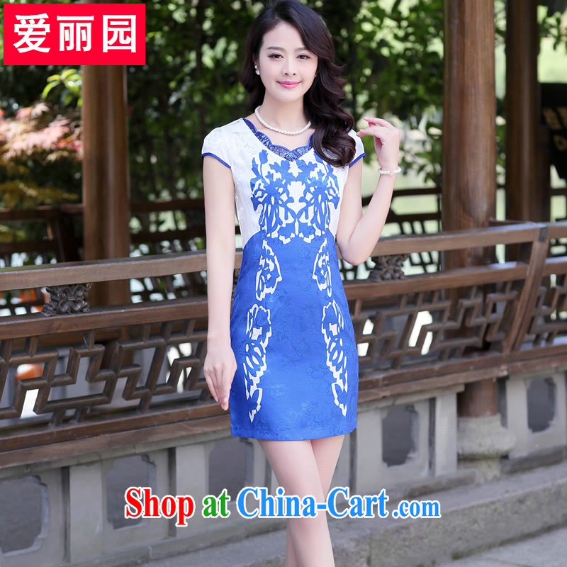 Alice Park 2015 summer new female stamp retro beauty package and palace floral improved fashion cheongsam dress short, blue and white porcelain XXL