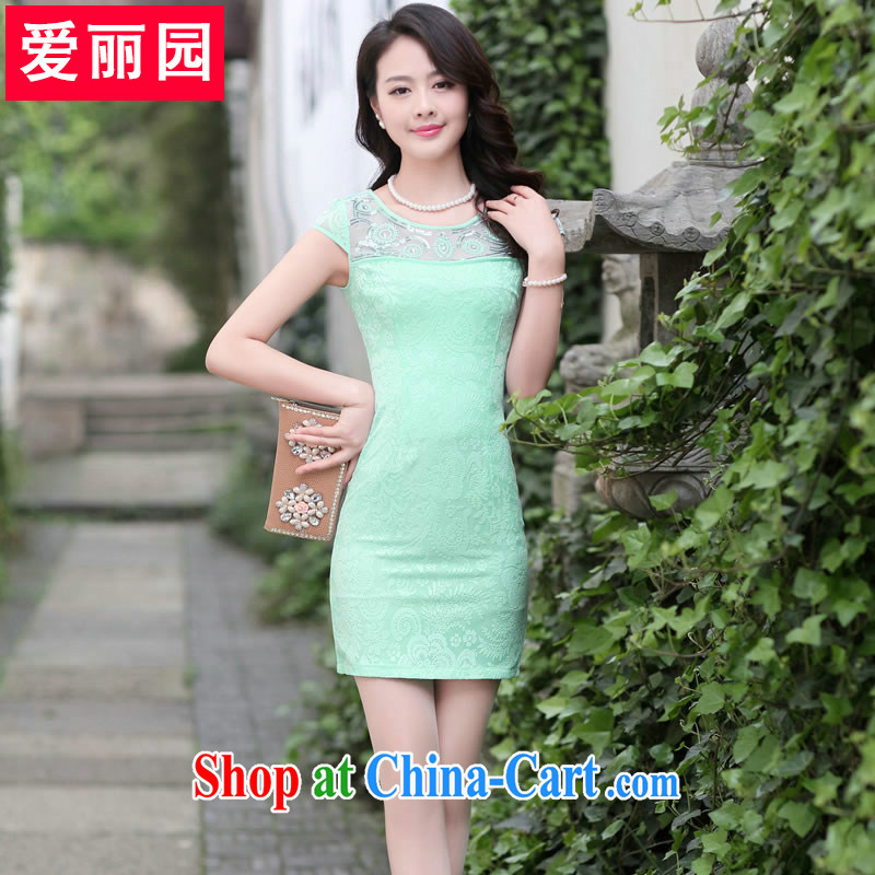 Alice Park 2015 summer new women with stylish name-yuan OL temperament female short-sleeved beauty package and dresses lace female further skirt green XXL