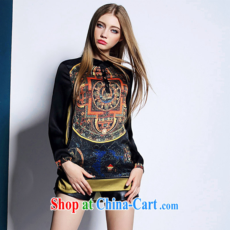 Ya-ting store European site summer larger female liberal T 妗� Europe retro stitching stamp duty long-sleeved T-shirt picture color XL